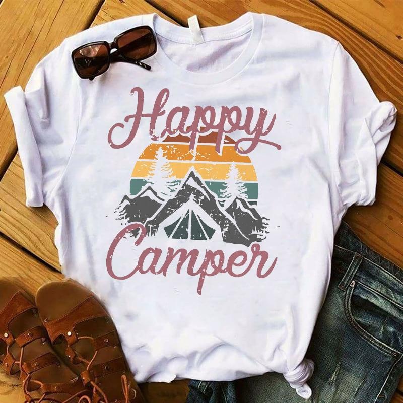Fashion Women Happy Camper Mountain Travel Printed T Womens Graphic Top Tshirt Female  Tee Shirt Femme Ladies Clothes T-shirt