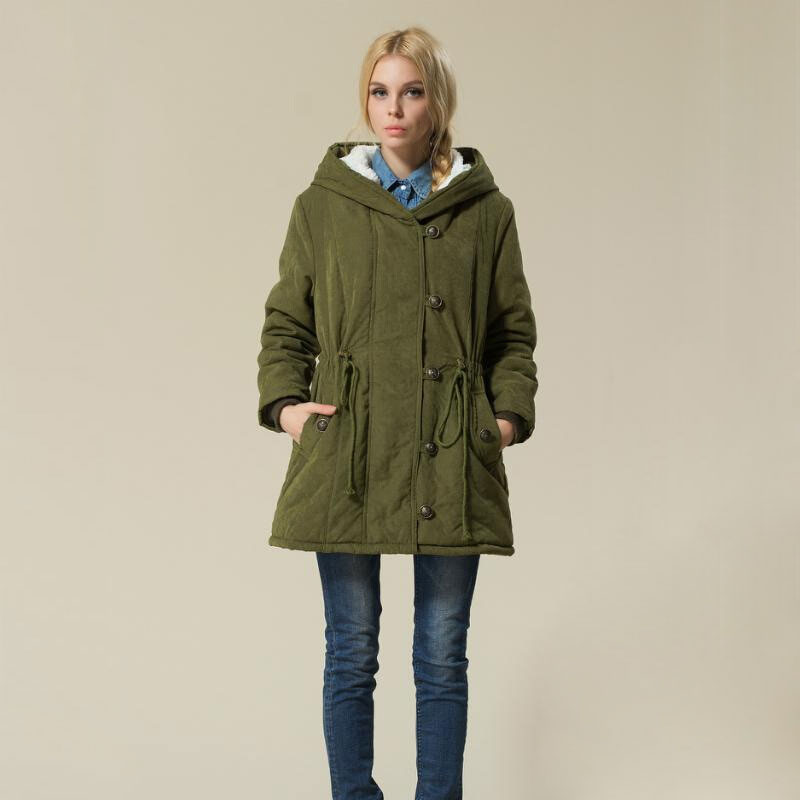 Plus Size Women Clothing Winter Parkas Drawstring Lamb Wool Hooded Jacket Coat Female Army Green Berber Fleece Warm Outerwear 2017 new fashion women long coat cotton padded clothes thicken winter female parkas lamb wool hooded drawstring jacket plus size