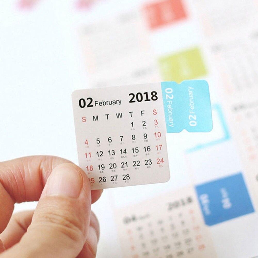 2018 Calendar Paper Label Counter Mark Sticker Creative Cute Mini Self-adhesive 2018 Notebooks Index Stickers Tags memo pad