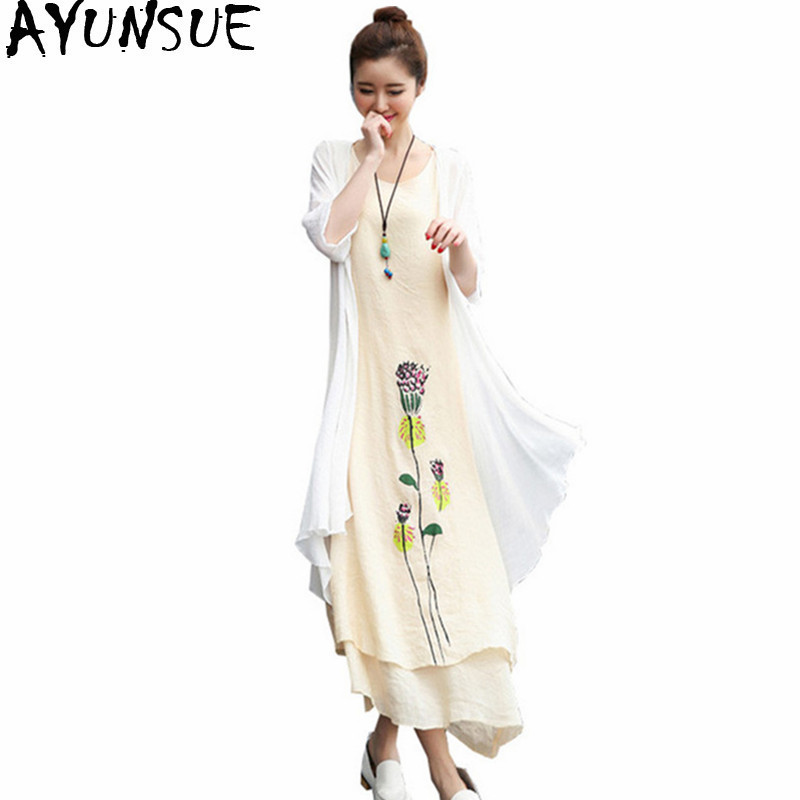 81ae85e8b58 AYUNSUE 2018 Robe Femme Summer Dress Women Cotton Linen Floral Long Dresses  Vintage Cape Casual Slim Two piece Vestidos WXF731-in Dresses from Women s  ...