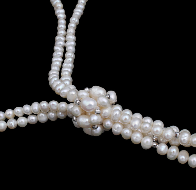 100% Genuine Real Freshwater Pearl Necklace 1pcs 37.5″ Long Knotted Multi Pearl Necklace Women Accessories Jewelry for Girl