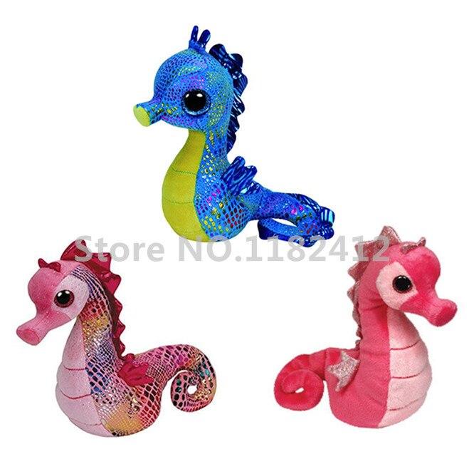 Ty Beanie Boos Pink Majestic Blue Neptune Seahorse Plush