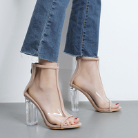 Dwayne Womens Clear Chunky Heel Peep Toe Sandals 2018 Fashion Transparent Heels Shoes Summer Boots For