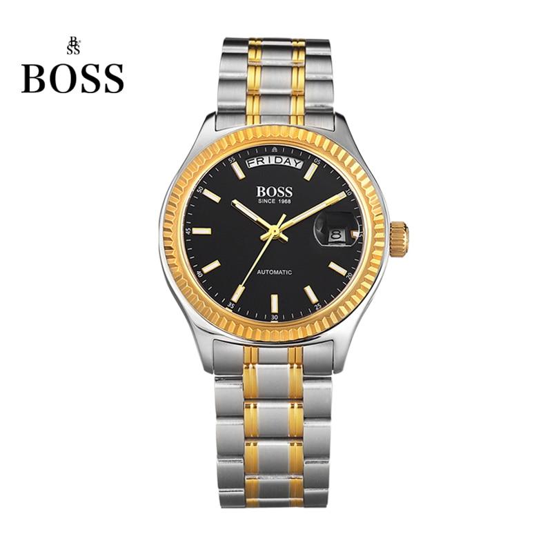 где купить BOSS Germany watches men luxury brand daydate series automatic self-wind mechanical black stainless steel relogio masculino по лучшей цене