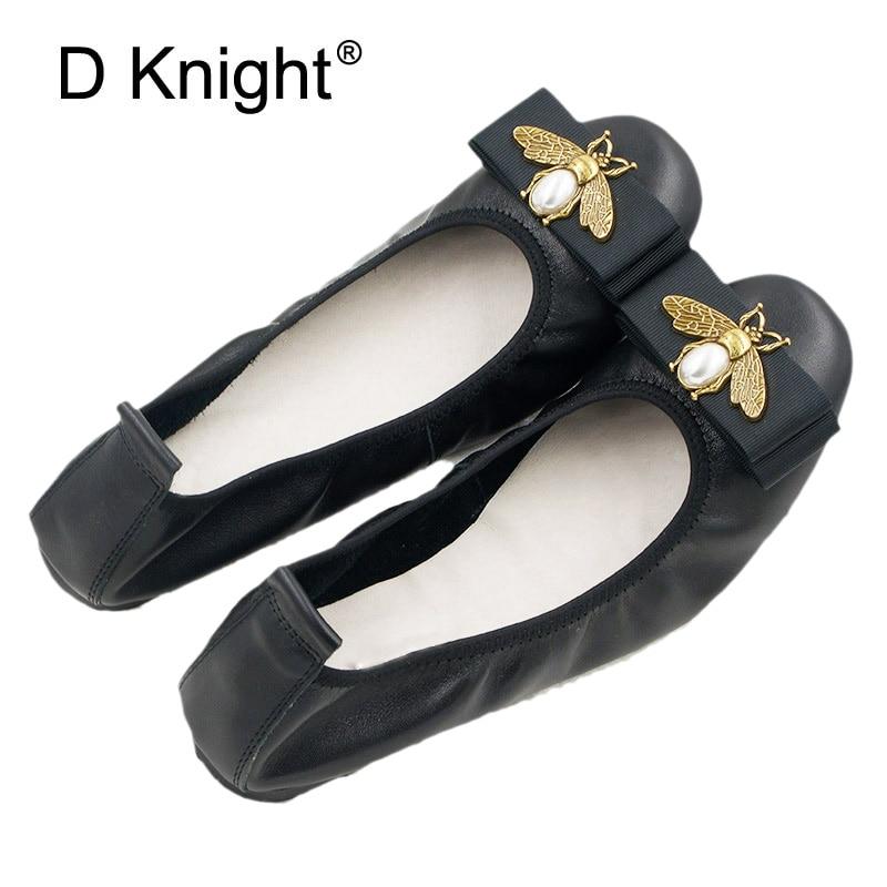 Genuine Leather Ballet Flats Women Slip On Flat Shoes Brand Baleriny Woman Soft Heel Ballerina Flats