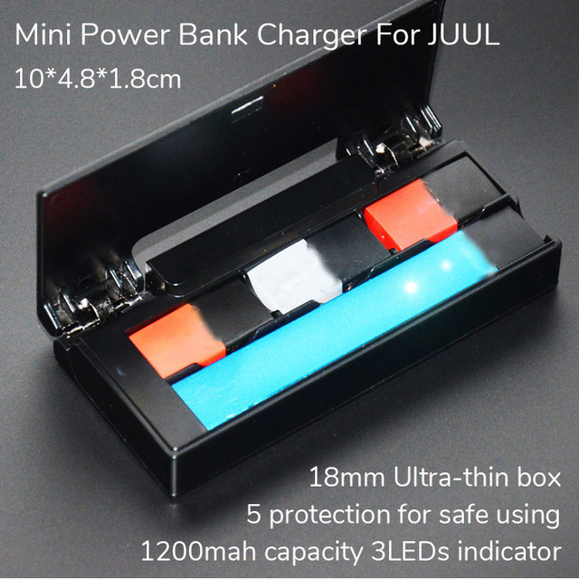 super popular b0766 aceaa Universal Compatible USB 1200mah Portable Mini Power Bank Charger Box For  JUUL Charging Case Pod Storage Holder 3 Led Indicator
