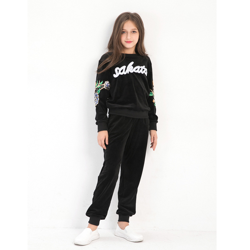 Autumn Winter Girls Clothing Sets Long Sleeve Two-piece Flower Embroidery Girls Sport Suits 6 8 10 12 14 years Girls TracksuitsAutumn Winter Girls Clothing Sets Long Sleeve Two-piece Flower Embroidery Girls Sport Suits 6 8 10 12 14 years Girls Tracksuits