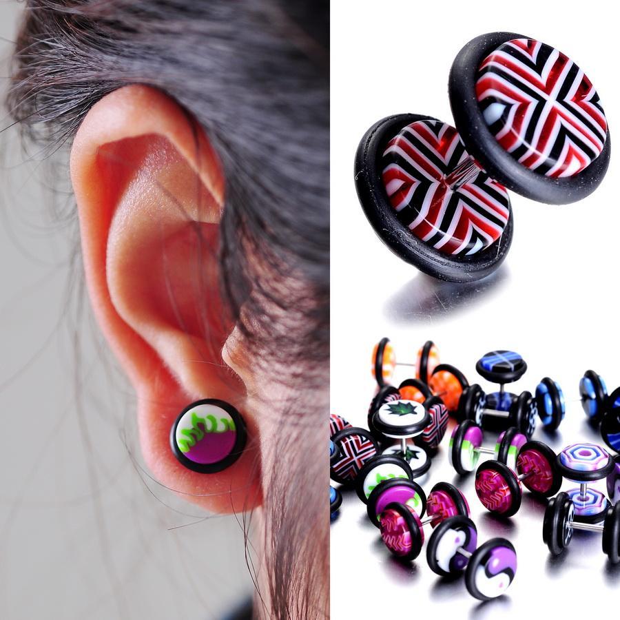 Lot Body Piercing Jewelry Stud Earrings Ear Men's Stud Fake  Plug Barbell Cheater