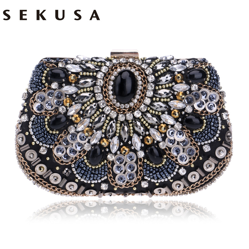 SEKUSA women evening bags beaded wedding handbags clutch purse evening bag for wedding day clutches evening bags embroidery bags women colorful handbags crystal beaded day clutches ladies chain evening bags messenger bags clutch pouch purse wallets for lady