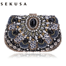 SEKUSA women evening bags beaded wedding handbags clutch purse evening bag for wedding day clutches evening bags embroidery bags