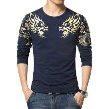 2018 Autumn New high end Men s Brand T shirt Fashion Slim Dragon Printing Atmosphere t