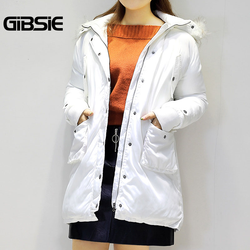 GIBSIE Plus Size Women Clothing 5XL 4XL White Parka 2018 Winter Women Jacket Hooded Fur Collar Long Style Coat Casual Outwear