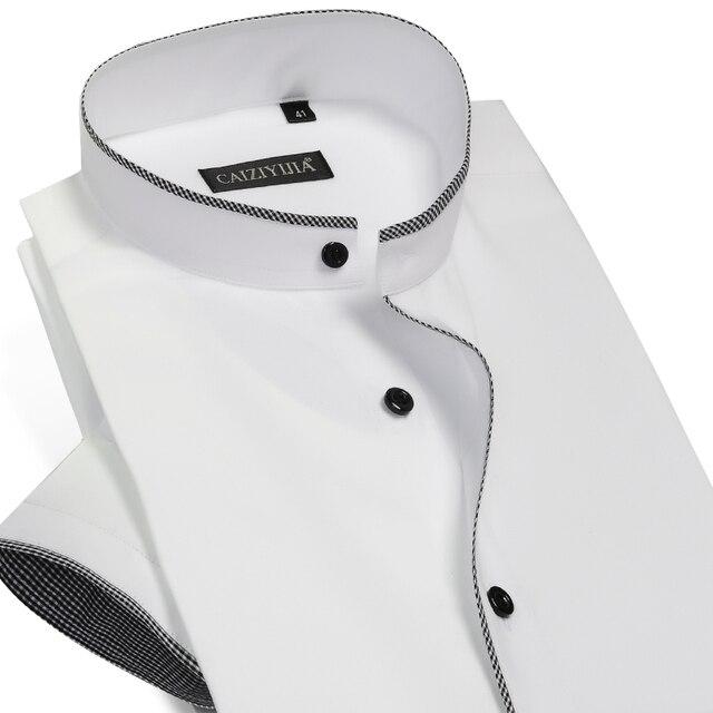 8ee8b6866154 Herren Kurzarm Gebändert Kragen mit Schwarzem Keder Kleid Hemd Sommer Smart  Casual Slim fit Baumwolle Dünne