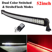 52inch 300W Led Curved Light Bar Combo Dual Color Switched StrobeFlash Remote White/Red, White/Amber, White/Green, White/Blue