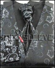 New arrival polyester fashion floral waistcoat(vest+ascot tie+cufflinks+handkerchief)