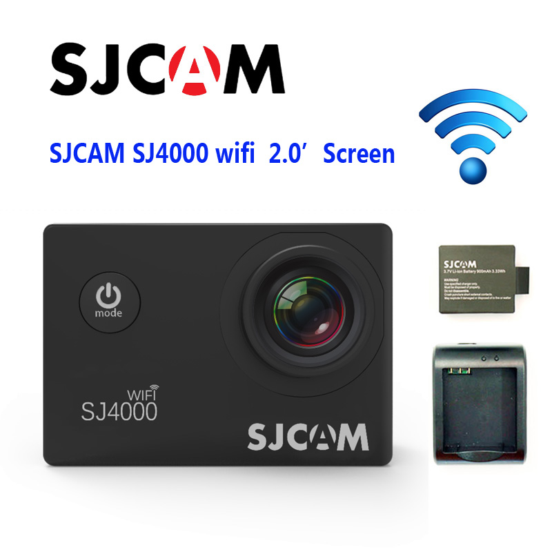 Free Shipping!!Original SJCAM SJ4000 WiFi 2inch LCD Screen New Interface Sport Action Camera+Extra 1pcs Battery+Battery Charger free shipping original sj4000 wifi sport camera car charger holder battery charger extra battery 16gb tf card for dv camera