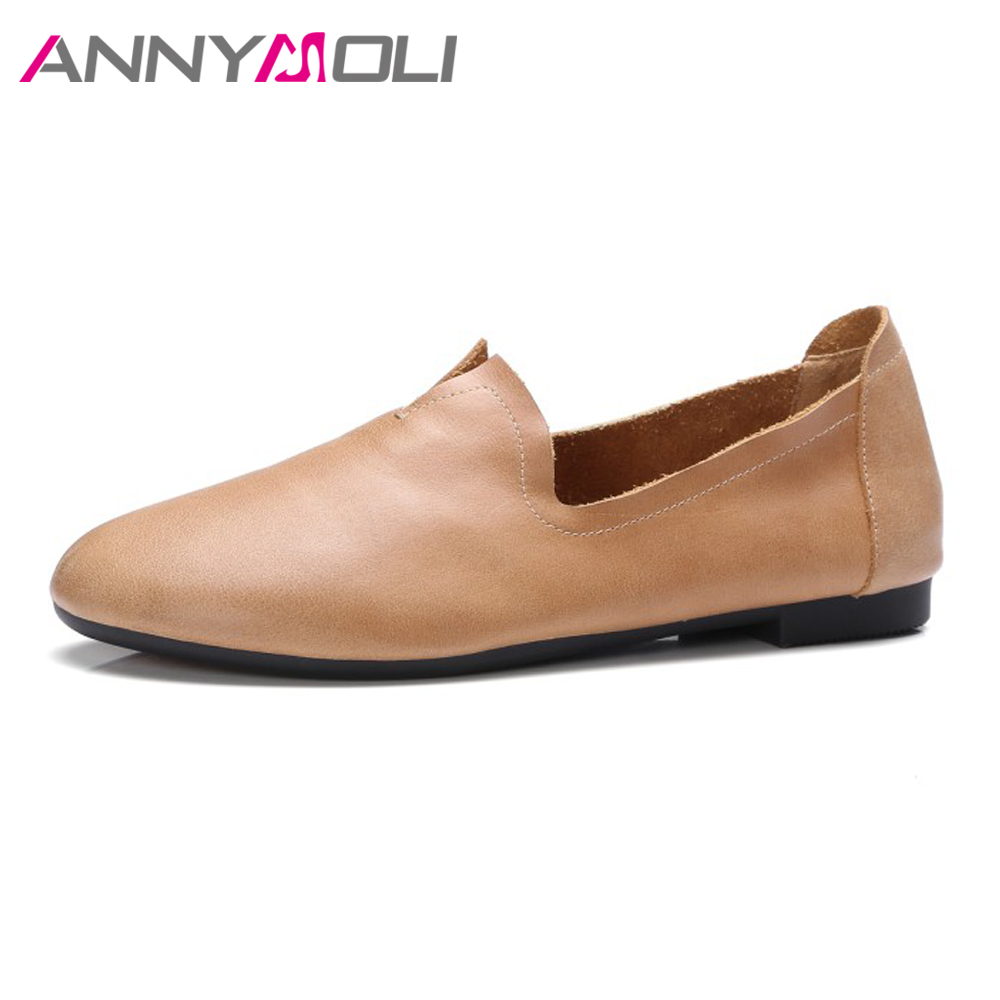 ANNYMOLI Genuine Leather Shoes Moccasins Women Flats Slip On Loafers Casual Boat Shoes Soft Real Leather Spring Flat Footwear spring high quality genuine leather dress shoes fashion men loafers slip on breathable driving shoes casual moccasins boat shoes