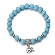 HOMOD Vintage Boho Green Stone Charm Bracelets Bangles Women Natural Elephant Pendant Beads Bracelet Men Jewelry