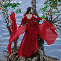 Wine Red Retro Vintage Maxi Dress Spring Summer V Neck Sexy Strapless Long Sleeve Cotton Linen
