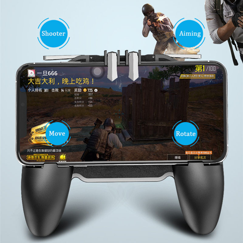Image 3 - PBUG Mobile L1R1 shooter game controller with cooler fan pubg joystick for phone game holder pubg trigger console oyun konsolu-in Replacement Parts & Accessories from Consumer Electronics