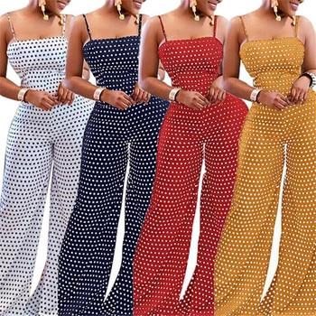 Women Polka Dot Printed Jumpsuit Summer Bowknot Sleeveless Jumpsuit Summer Playsuit Wide Leg Pants 2019 Stylish Holiday Jumpsuit 2