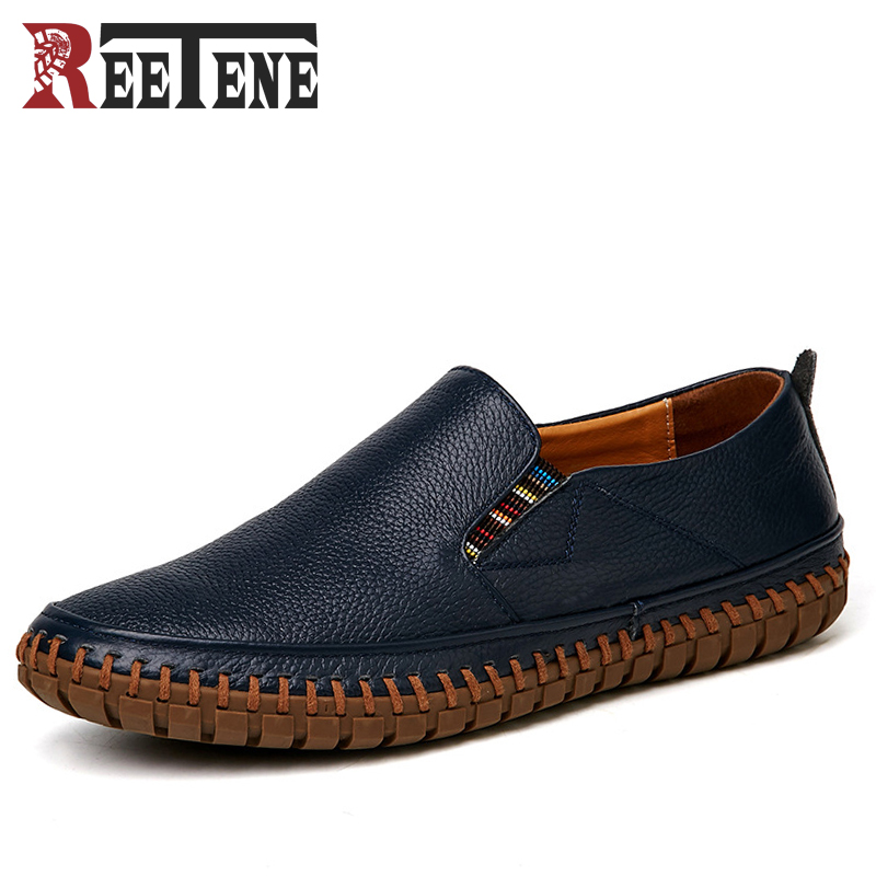 REETENE Big Size Men Genuine Leather Shoes Slip On Black Shoes Cow Leather Loafers Mens Moccasins Shoes Comfortable Driving Shoe fonirra genuine cow leather mens loafers moccasins leather men flats slip on men leather shoes men driving shoes 720