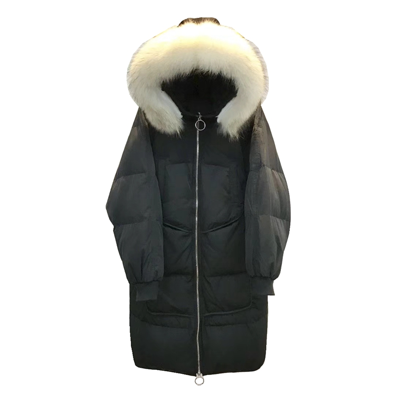 (TopFurMall)European Winter Women Parkas   Down     Coats   Genuine Big Raccoon Fur Hoody Lady X-Long Outwear Overcoat LF5069