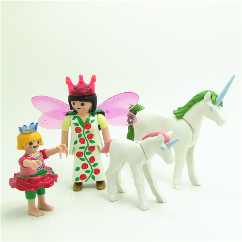 Girls Playmobil lot Unicorn Princess Angel Horse Action Figures Building Blocks Vinyl Dolls Set Christmas Gift Toys for Children h rider haggard queen sheba's ring перстень царицы савской