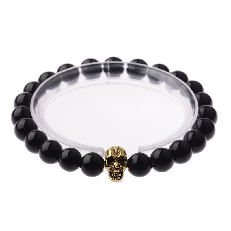 New male bracelet Natural Stone Alloy gold Skull head 8 mm beads with volcanic rock men Jewelry Lava Yoga Bracelets AB134