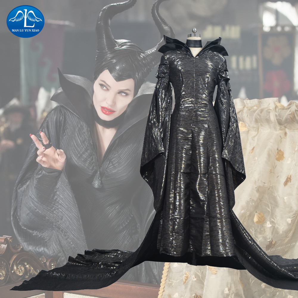 Maleficent Cosplay Costume Maleficent Dress Halloween Costume for Adult Women Girls With Headwear Black Long Dress