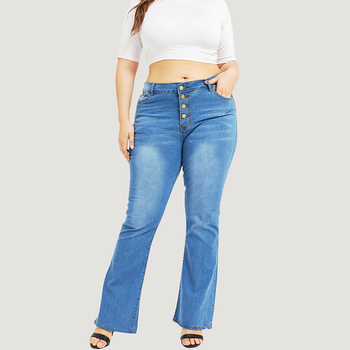 Jeans Women Casual Washed Button High Waist Jeans Plus Size Loose Flare Pants Boyfriend Jeans for Women jean femme 5XL D40 фото