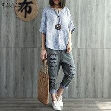 2021  ZANZEA Summer V Neck  Sleeve Women Cotton Linen Striped Shirt Casual Loose Work Blouse Retro Party Top Blusas S-5XL