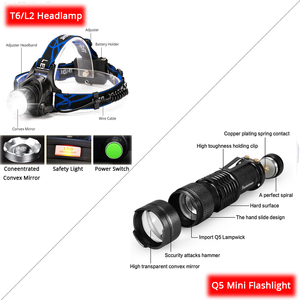 Image 2 - Rechargeable Headlamp Super BrightT6/L2 Zoom Headlight Waterproof Head Lamp Torch Flashlight use 2*18650 battery (Not included)