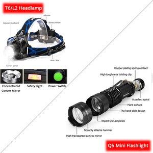 Image 2 - ไฟหน้าแบบชาร์จไฟได้ Super Bright T6/L2 ซูมไฟหน้ากันน้ำไฟฉายไฟฉายใช้แบตเตอรี่ 2*18650 (ไม่รวม)