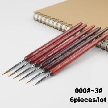 Ensemble de pinceaux de peinture pointus, stylo Combo pour outils militaires de construction de modèles Gundam, 6 pièces/lot