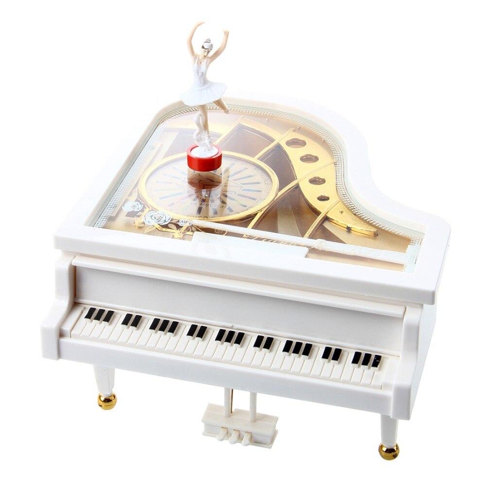 Boite à musique Piano à queue ballerine blanche mécanique classique ballerine dansante fille dansante au Piano boite à musique pour saint valentin