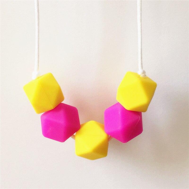 diy silicone bebê seguro dentição colar hexagonal