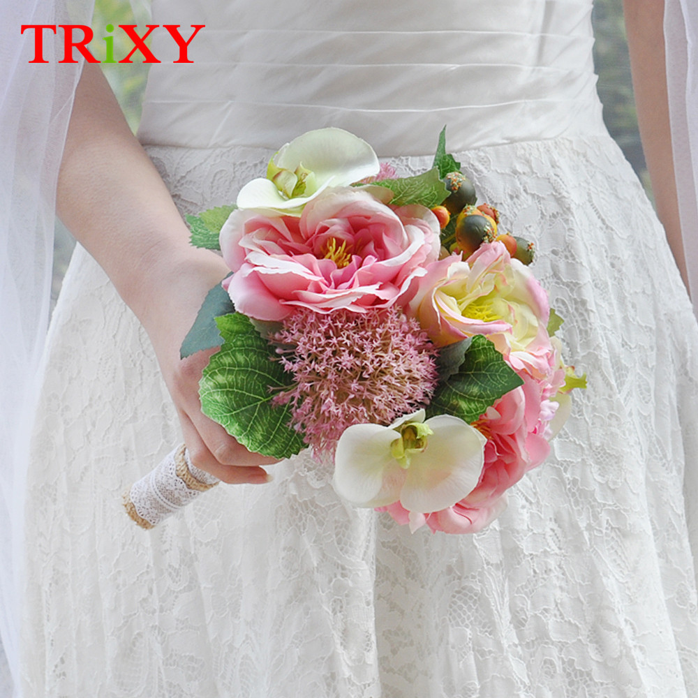 Trixy b18 amazing wedding holding flowers colorful bridal bouquet trixy b18 amazing wedding holding flowers colorful bridal bouquet mixed pink and rose rose artificial flowers wedding decoration in wedding bouquets from izmirmasajfo