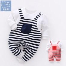 YiErYing  Newborn Baby Boy Girl Jumpsuits Leisure Thicker Autumn 100% Cotton Strap Stripe Baby Romper