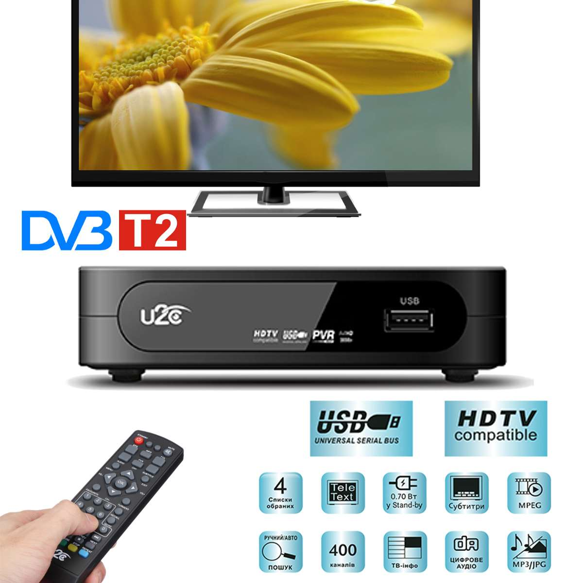HD Smart DVB-T2 Smart Digital TV Box HDMI Set Top Box H.264 HD TV Digital Ground Receiver Satellite DVB T / T2 Set Top Box