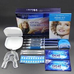 المهنية الأسنان طقم تبيض 4 هلام 2 شرائط 1 LED الأبيض الأسنان التبييض Blanchiment دنت Tanden Bleken Blanqueador العناية بالأسنان