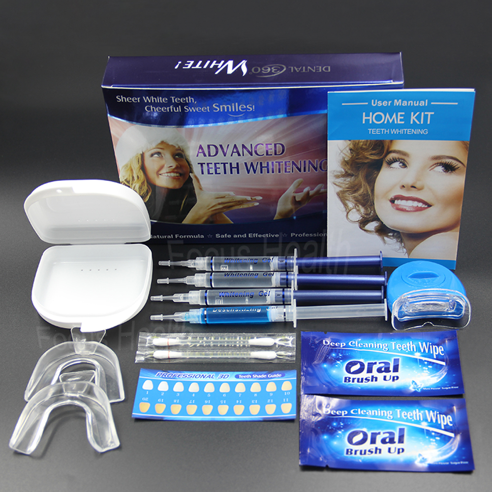 Professional Teeth Whitening Kit 4 Gel 2 Strips 1 LED White Tooth Bleach Blanchiment Dent Tanden Bleken Blanqueador Dental Care 10 pouches crest teeth whitening strips advanced vivid 3d white original oral hygiene tooth whitestrips no box free shipping