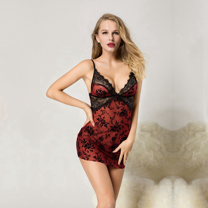 Female Sexy Baby Doll Lingerie Red Lace See-through Straps Sleepwear Hot Erotic Nightgown Chemise Sex Clothes For Women 7062