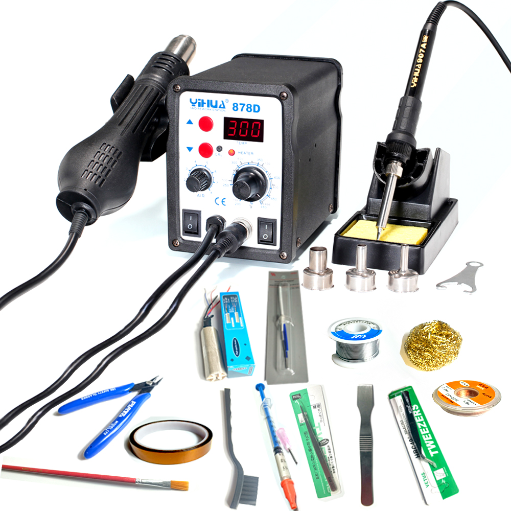 YIHUA 878D Soldering Station 700W LED Digital Solder Iron soldering station BGA Rework Hot Air gun Includes 13pcs accessories black rhodium rondo 0 5m