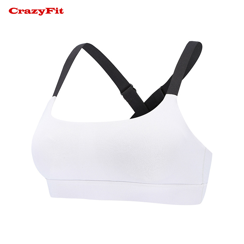 CrazyFit Sexy Push Up Padded Sports Bra Women Running Fitness High Impact Breathable Adjustable Patchwork Brassiere Yoga bra Top