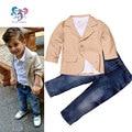 3-Pieces algodão roupa dos miúdos de casamento cavalheiro roupas roupa dos miúdos camisa jaqueta jeans ternos crianças bebê roupas menino define