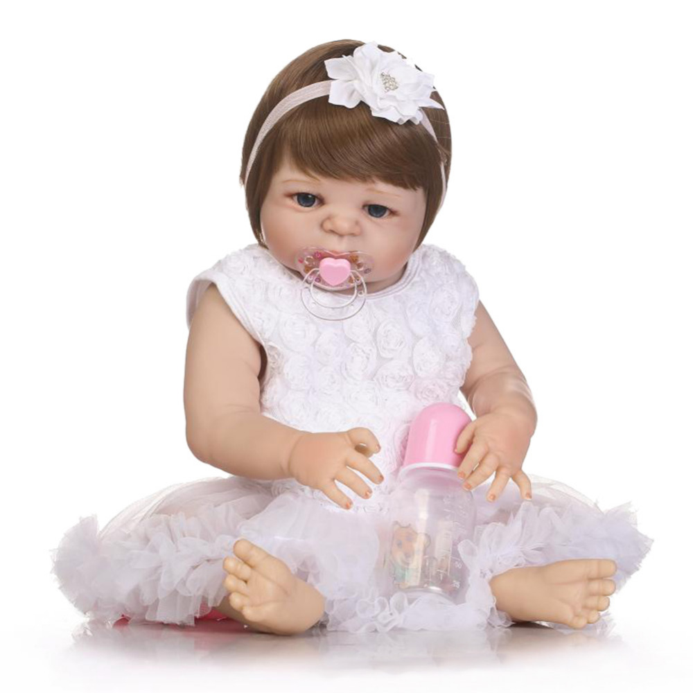 22 inch Lifelike Full Body Silicone Reborn Baby Doll Toys Newborn Girl Baby Doll Christmas Gift Birthday Gift Bathe Toy Girls ...