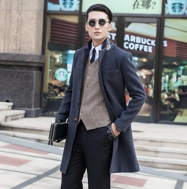 Grey black khaki long sleeve suit collar wool coat men jackets and coats mens slim wool