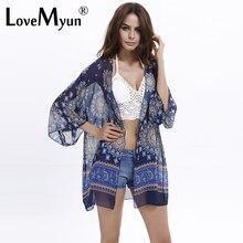New Arrivals 2017 Women Blouses Plus Sizes Floral  Cardigan Women Tops Chiffon Batwing Blouse Kimono Cardigan Chemise Femme XXXL