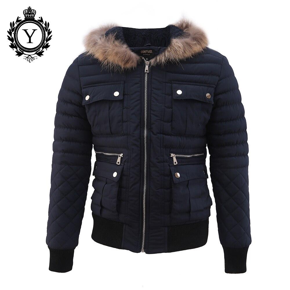 COUTUDI 2016 Winter Men Clothing Outwear Casual Jackets Hot Dark Blue Fur Hooded Zipper Winter Down